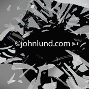 Shards of broken glass explode out from a black background in a dramatic display of unexpected events filled with impact.