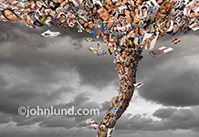 Photo of a social media tornado, a funnel cloud made up of hundreds of portraits of people against a stormy background.