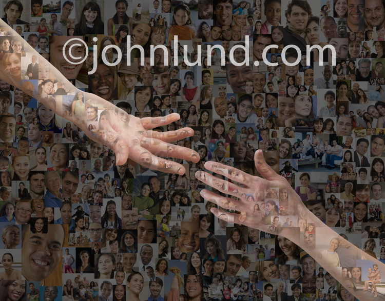 A pair of hands reach for each other against a mosaic background made up of hundreds of portraits in an image about social media issues.