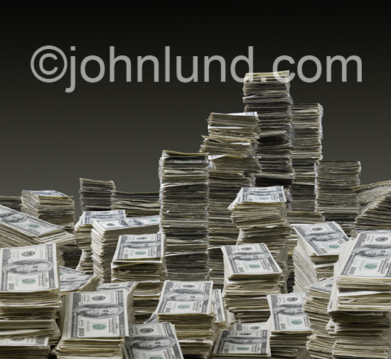 Stacks of money can be symbolic of success, wealth, cash flow, personal wealth and other financially-related issues