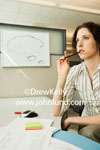 Photo of a woman thinking about something. She has her pen up to her mouth lost in thought. Paperwork, sticky note pads, and a mouse scattered around on her desk. White board with thought bubble in the background.