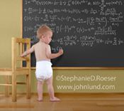 A toddler in diapers stands at a blackboard in a school setting intent on writing an incredibly complex mathematical formula.