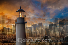 A woman executives stands atop a lighthouse in a frenetic urban environment and seeks to find the way forward.