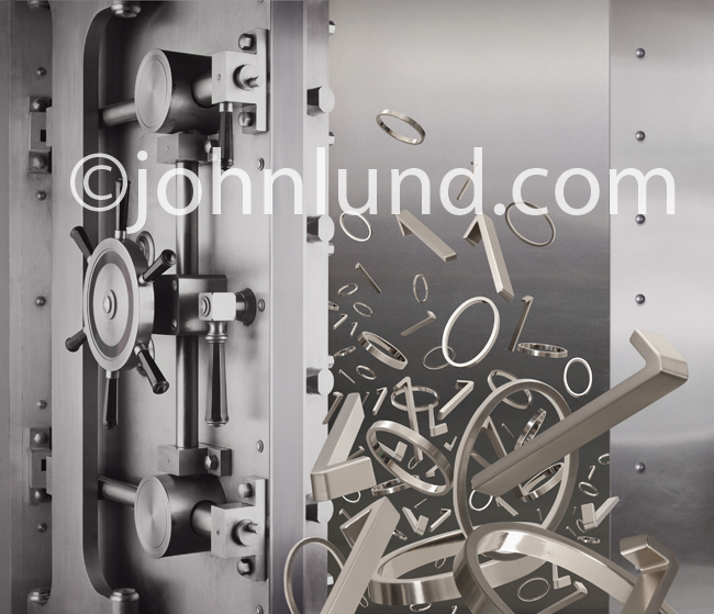 Binary numbers, 1s and 0s, pour out, or tumble in, to a Bank Vault in a stock photo about online security and the protection of digital assets.