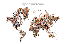 In this picture a map of the world is created from hundreds of faces, portraits of a wide range of ethnicities with images of old, young, men, women and children.