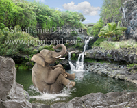 An elephant jumps into a pool of water in a classic