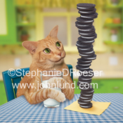 An orange tabby cat sits at a kitchen table (and a blue plaid table cloth) with a big glass of milk and a tall stack of cookies, in a funny, lol pet picture.