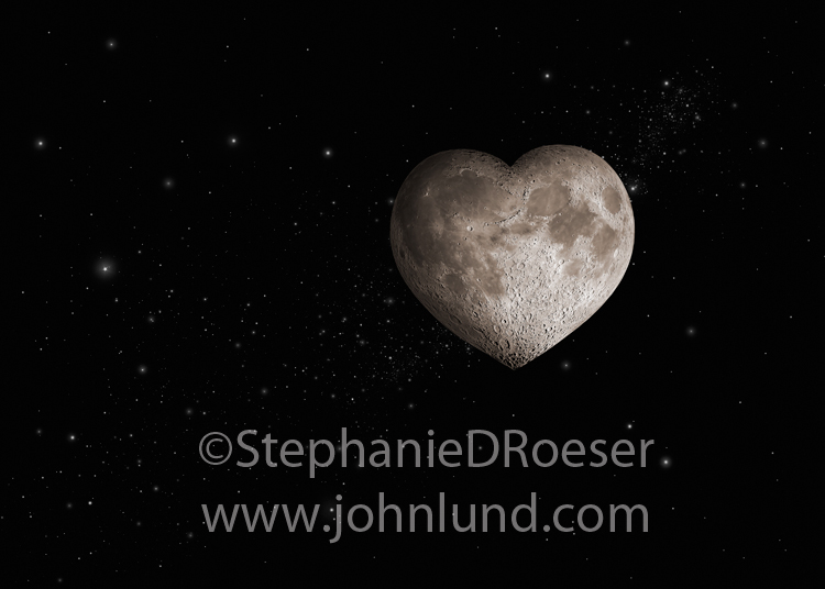 Pictured is the ultimate romantic moon, a heart-shaped full moon surrounded by stars of the milky way.