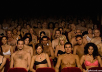 Funny pictures of a theater crowd or audience wearing nothing but their underwear from the speaker or entertainer's point of view in a humorous picture.