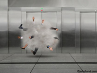 Dust cloud with arms, fists and legs sticking out as executives engage in a cartoon like fight. Businessmen fighting pics. The men who are fighting are in front of a stainless steel wall of elevators.