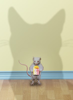 lol pet picture of a mouse standing in the shadow of a cat and timidly holding out a small, gift wrapped present.