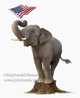 An elephant stands on a stump and waves a flag with his trunk in a picture representing patriotism, the republican party and politicians on the stump.