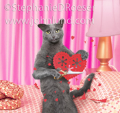 Funny picture of a gray cat cutting out Valentine Doily Hearts while sitting on her bed and looking lonesome.